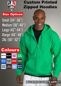 zipped hood size chart