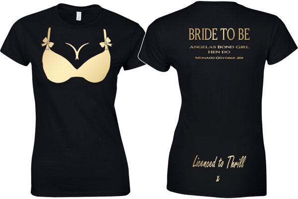 Bond girl hen do t shirt black country t shirts for Custom t shirts no minimum order