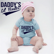 Daddys Lil Boster Light Blue Babygrow