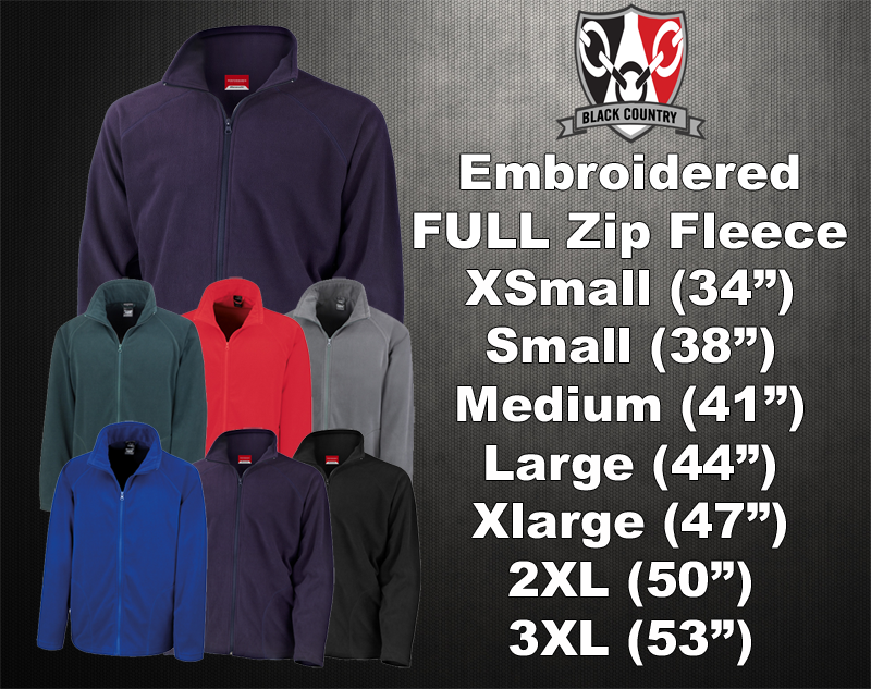 Fleece Size Chart