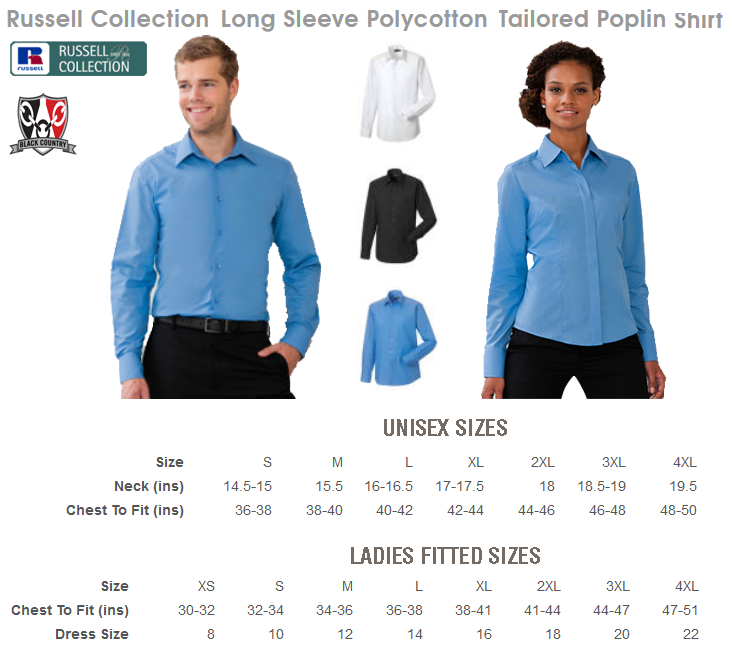Work Shirt Size Chart