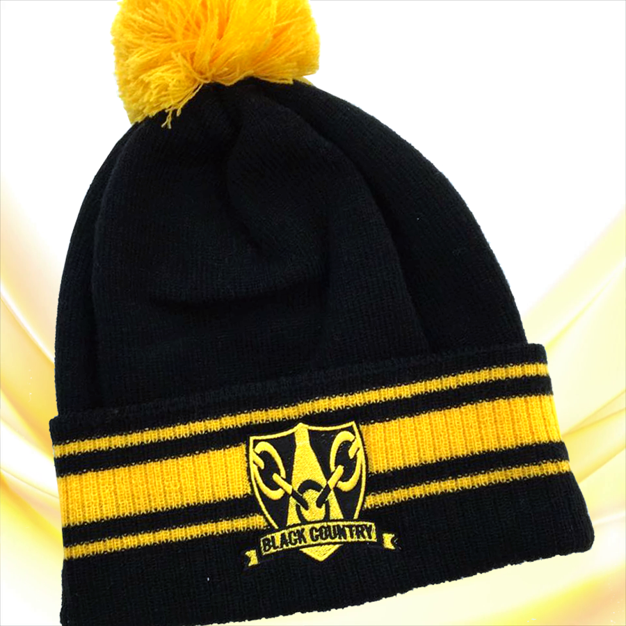 Black   Gold Black Country Beanie Hat  13f626935a09