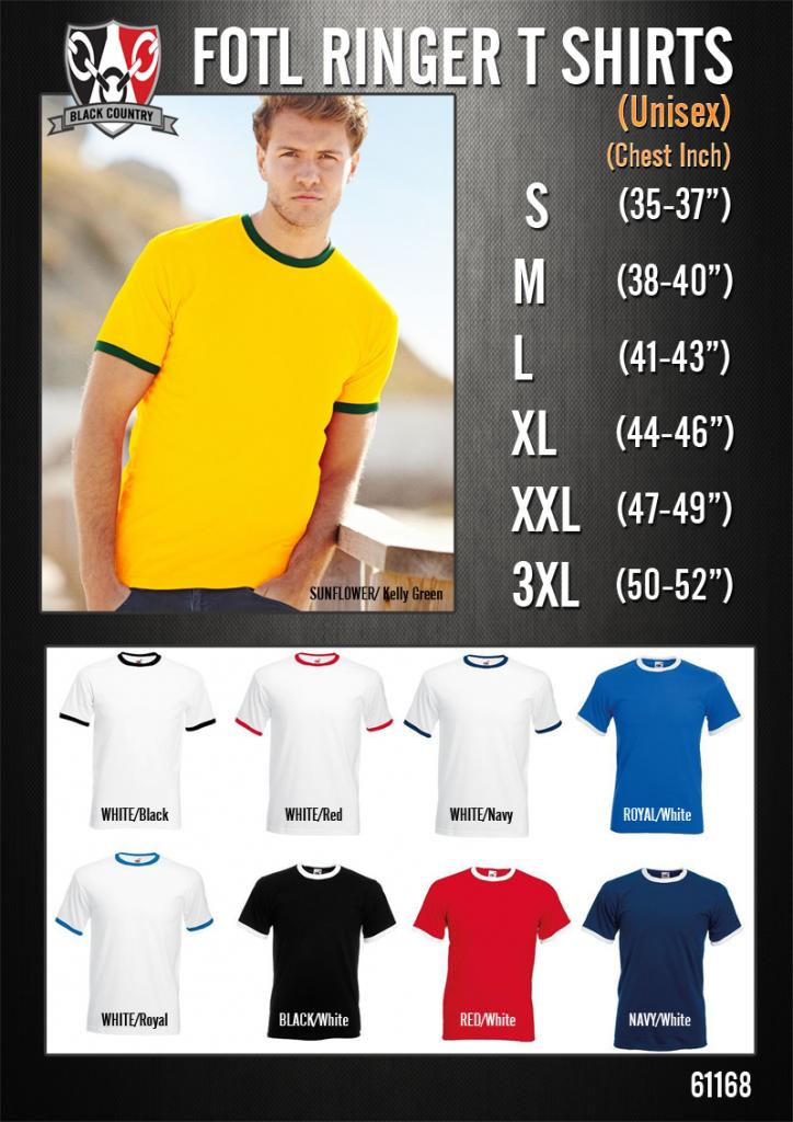 Ringer T Shirt Size Chart