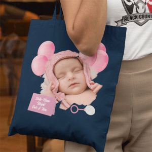 New born baby tote bag pink