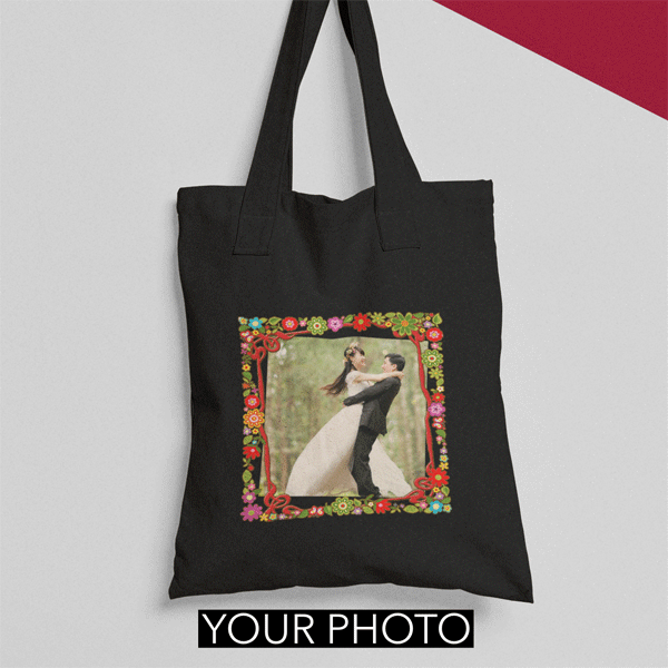 Your Photo Tote Bag Floral Frame